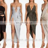 2016 summer dress woman sexy celebrity women V-neck backless wrap slim midi bodycon stretch dresses