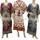 caftan Night wear polyester maxi poncho colorful design Women Long Kaftan Hippie Boho Dress Kimono Satiny Silky Look Plus Size