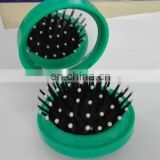 Round Foldable Hair Brush With Mirror And Sewing kit Set With Available Color Provided