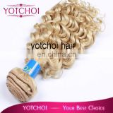 wholesale unprocessed 5A brazilian virgin blonde curly hair extensions