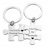 High quality puzzle piece set silver plated metal keychain with no minimum