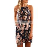 2020 summer burst dress new style printed sleeveless sexy hanging neck beach skirt women's factory direct sales