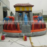 2016 crazy inflatable slide obstacle games inflatable double slide climbing wall for kids play