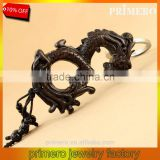 Chinese Loong Ebony Wood Men Gift Black Bag Key Ring Carved Dragon Wooden Keychain