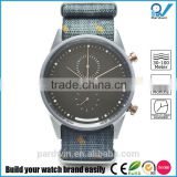 Chrono watch japan quartz movement stainless steel case 10ATM water resistance sterling nato strap Fine-weaved printed