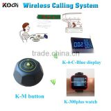 electronic calling system for restaurant waiter wrist watches and led display on bill counter