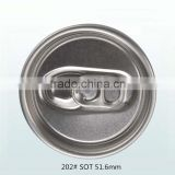 Aluminum 202# 51.6mm SOT Easy Open Pull Tab Cap For Beverage Can