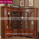 American style wooden bookshelf combination sideboard with glass door and handmade carving AI-202