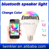 Colorful bulb portable Mini LED light bluetooth speaker with remote control and App support IOS and Android