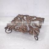 Square Flower Metal Coaster w/Antique Rustic Finish