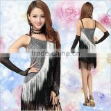 2016 High Quality Sexy Black Latin Dance Skirt Cheap Women Tassel Latin Ballroom Dance Dress for Sale