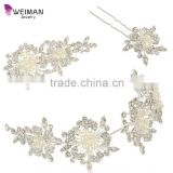 Women's Fashion Crystal Flower Leaf Cluster Simulated Pearl Hair Pin Clip Set