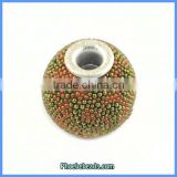 Wholesale Green & Coral Resin Indonesia Metal Core Beads PCB-M100560