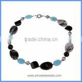 Wholesale Handmade Natural Semi Precious Agate And Fresh Water Pearl Beads Choker Chunky Necklaces GN-DQ001