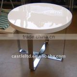 White High gloss oval coffee table with MDF finished,wooden top and metal cross base modern end table