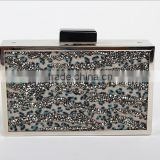 China special shinning sequin fabric and metal frame lady clutch evening bag