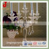 Antique Clear Candle Holder 3 Arms/5 Arms Crystal Candelabra With Hanging Crystals For Wedding Centerpiece                                                                                         Most Popular