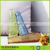China home decoration wholesale white / red / yellow / blue / green / purple clear glass flower vases