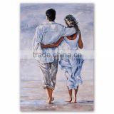 Hot Selling Impressionist Romantic Lovers walk on the beach oil paintings for home decoration