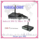 Newest Factory wholesale Android DVB-T2 Smart TV box Vigica C60T support wifi, 3G,3D, XBMC