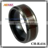 IP black tungsten wood finger ring beveled