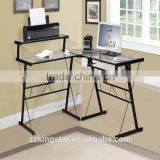 Steel Office Desk With Keyboard Drawers Glass Top Metal Computer Desk