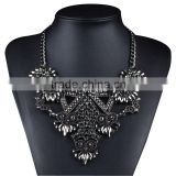 Fashion Jewelry Vintage Crystal Necklaces Pendants Long Flower Statement Necklace Metal Chain Jewelry