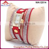 Made in china jewelry good mood red crystal rhinestone beaded wrap leather watch bracelet for fashion women and girls