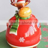 2017 wholesale ceramic hand painted cheap canister with Christmas design