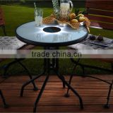 LED bistro table solar power recharge tempered glass