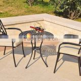 Bronze cast Aluminum garden metal bistro set metallic table and chair for relax in garden for hot sale