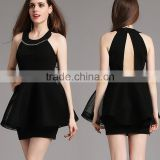 Sexy office lady fashion dresses sleeveless A line key hole back cocktail party dress for lady