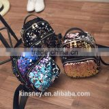 KS10055C Latest plain girls fashion sequin backpack bag daily use