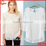 Elegant white basic woman blouse fashion sheer crochet lace blouse 2015
