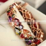 2017 Newest Fashion Bracelet Rose Gold Plated Multicolor Cubic Zirconia Bracelets&Bangles Women Jewelry