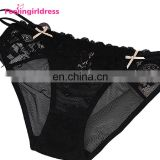 Fashion Black Transparent Lace Sexy Fat Women Underwear Panties