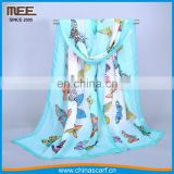 Lastest hot selling silk felling butterfly printed Bubble chiffon scarf