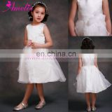 White Color Flower Bow Organza Flower Girl Dresses Patterns