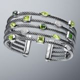 925 Sterling Silver DY Inspired Five Row Green Gemstone Confetti Cable Cuff Bracelet