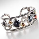 High Quality DY Inspired Sterling Silver Black Onyx Hematite Oval Mosaic Cuff Bracelet