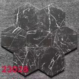 200x230mm Marble Design White Veins Black Hex Tile