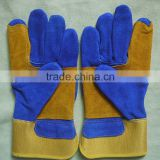 Reinforcement palm leather working gloves, industrial and mechanic gloves with CE standard