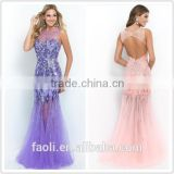 2015 Free Shipping Purple Mermaid Long Finery Dresses Crystals Beaded Backless Sheer Tulle Cheap Prom Dresses