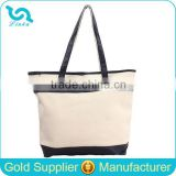 China Blank Canvas Wholesale Tote Bags With Leather Trim
