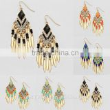 Tribal BOHO GYPSY metal beads tassel dangle earrings