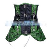 Luxury Sexy Lady New Leather Steel Boned Gothic Underbust Corset Bustier Green