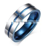 Tungsten Carbide High Polished Two-tone Blue Wedding Bands Ring for Men