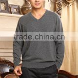 man's flat knitting sweater V neck/ 100% pure Cashmere jumper