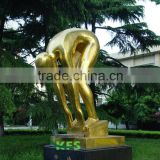 Brass swimming athlete sculpture
