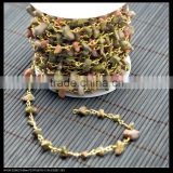 LFD-004C ~ Wholesale Natural Unakite Chip Beads Rosary Chains , Fashion Gem Stone Wire Wrapped Beaded Chain Jewelry Finding